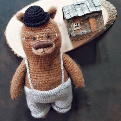 вязаная шляпа крючком для мишки Амигуруми