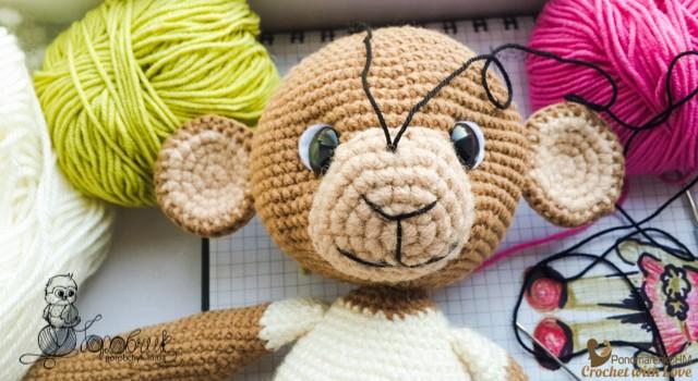 бесплатный мастер класс амигуруми вязаная обезьянка Тося