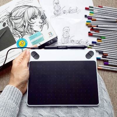 рисую открытки на графическом планшете