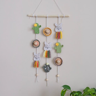 вязаное панно с ламой и кактусами, схемы Амигуруми бесплатно